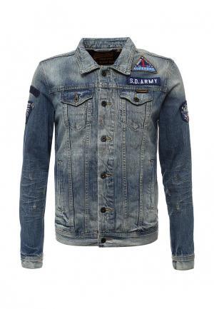 Куртка джинсовая Superdry. Цвет: голубой