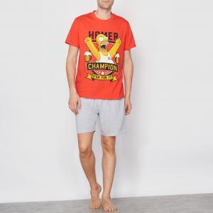 Пижама с шортами SIMPSONS. Цвет: серый меланж/красный