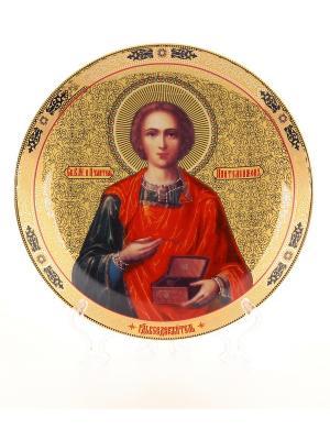 Тарелка декоративная Святой Пантелеймон-Целитель Elan Gallery. Цвет: золотистый, синий, красный