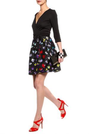 Платье DIANE VON FURSTENBERG. Цвет: черный, черная юбка с принтом