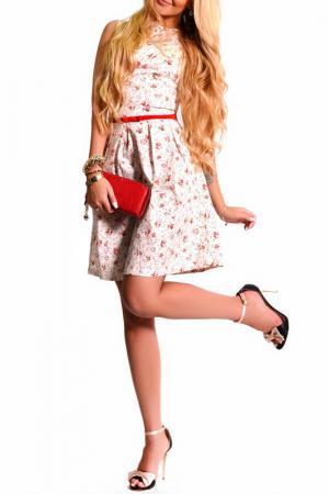 Платье LASKANY collezioni. Цвет: кремовый