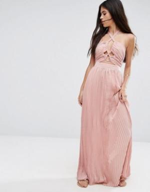 Pixie & Diamond Короткое приталенное платье с завязкой на шее и вырезами Diamo. Цвет: розовый
