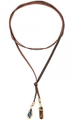 Ожерелье с камнями Ettika. Цвет: коричневый