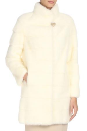 Шуба с натуральным мехом норки ALBERTALLI. Цвет: белый, перл
