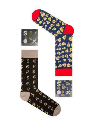 Набор Акулы бизнеса (2 пары в коробке), дизайнерские носки SOXshop. Цвет: черный, синий