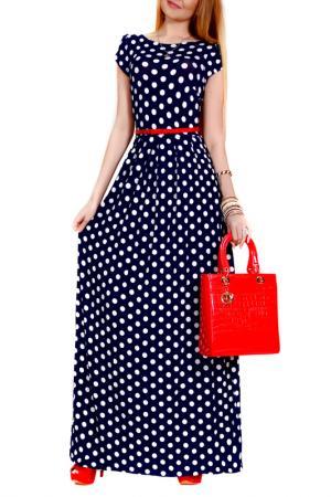 Платье FRANCESCA LUCINI. Цвет: темно-синий, белый, горох