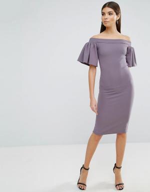 Oh My Love Платье миди с широким вырезом и рукавами-оборками. Цвет: серый
