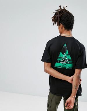 HUF Футболка с треугольным принтом на спине. Цвет: черный