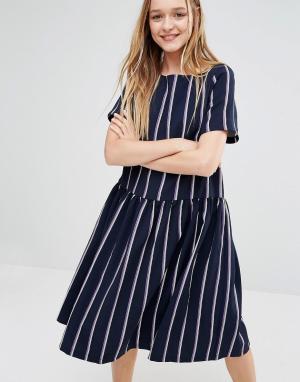 I Love Friday Свободное платье с заниженной талией в полоску. Цвет: темно-синий