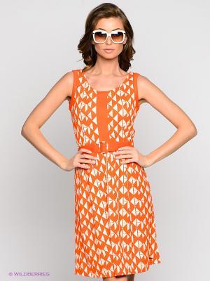Платье VILA JOY. Цвет: оранжевый, белый