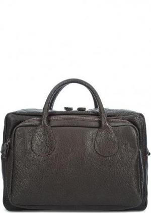 Кожаная сумка с одним отделом Bruno Rossi. Цвет: коричневый