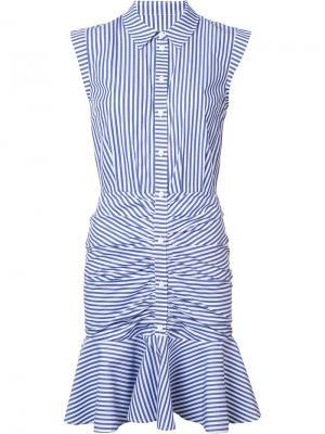 Платье-рубашка в полоску Veronica Beard. Цвет: синий