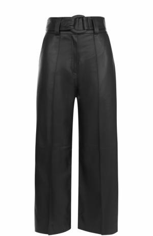 Укороченные кожаные брюки со стрелками и поясом DROMe. Цвет: синий