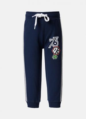 Трикотажные брюки с принтом OSTIN. Цвет: серый