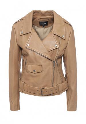 Куртка кожаная Arma. Цвет: бежевый