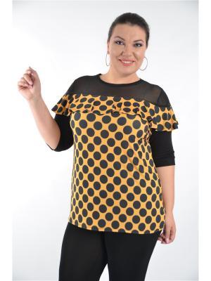 Блуза Горох Полное счастье. Цвет: черный, желтый