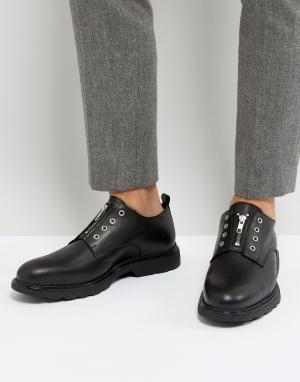 Zign Кожаные туфли с люверсами. Цвет: черный