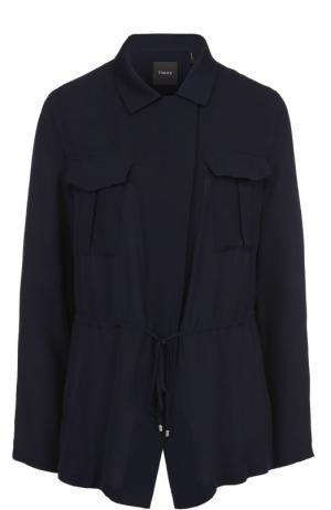 Шелковая приталенная блуза с накладными карманами Theory. Цвет: темно-синий