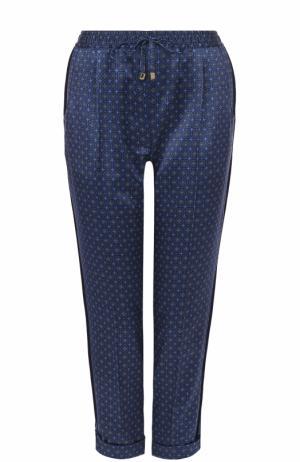 Укороченные шелковые брюки Kiton. Цвет: синий