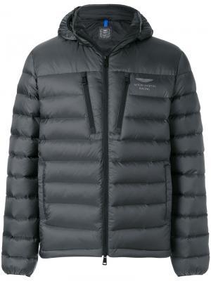 Стеганая куртка с капюшоном Hackett. Цвет: серый