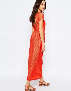 Sessun Красное платье макси с открытой спиной. Цвет: красный