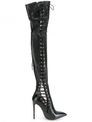 Высокие сапоги со шнуровкой Gianni Renzi. Цвет: чёрный