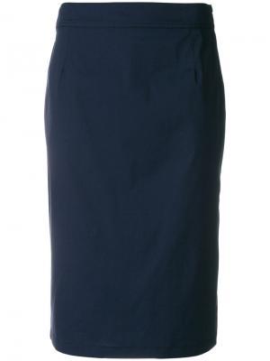 Прямая юбка миди Prada. Цвет: синий