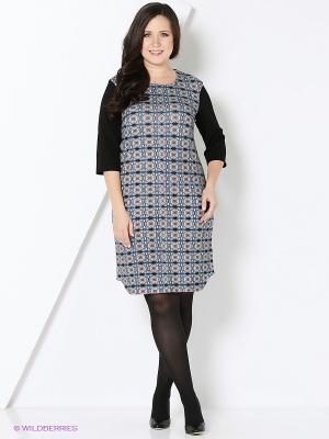 Платье Битис. Цвет: голубой, черный