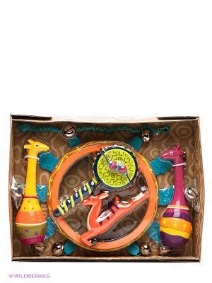 Набор погремушек Мелодия джунглей Battat. Цвет: фуксия, оранжевый, желтый