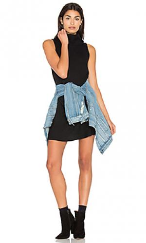 Цельнокройное платье без рукавов с широким вырезом Michael Stars. Цвет: черный