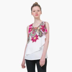 Блузка без рукавов с воланами DESIGUAL. Цвет: экрю