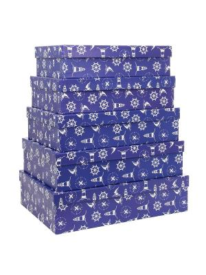 Коробка картонная, набор из 5шт.  32х20х8 - 40х28х10 см. Морская тематика. VELD-CO. Цвет: синий, белый