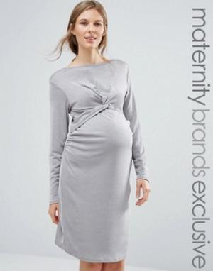 Bluebelle Maternity Платье для беременных с декоративным узлом. Цвет: серебряный