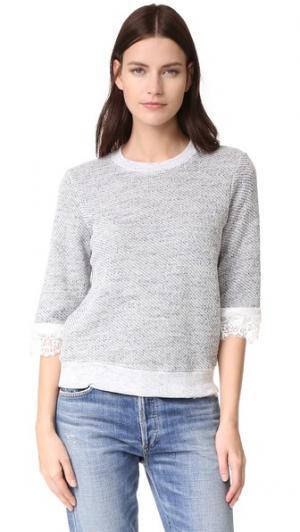 Текстурный пуловер с кружевными вставками Clu. Цвет: голубой