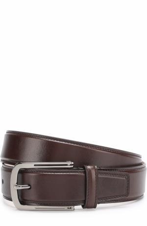 Кожаный ремень с металлической пряжкой Brioni. Цвет: коричневый