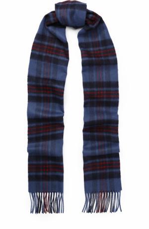 Вязаный шарф в клетку из кашемира с бахромой Johnstons Of Elgin. Цвет: синий