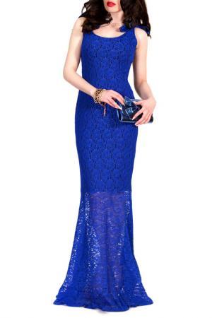 Платье FRANCESCA LUCINI. Цвет: ярко-синее кружево, черный