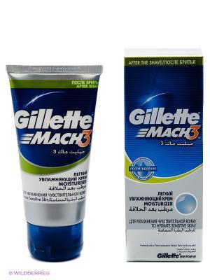 Крем после бритья Mach 3, легкий увлажняющий с алоэ вера GILLETTE. Цвет: синий