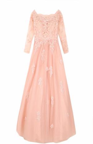 Приталенное платье-макси с вышивкой Basix Black Label. Цвет: светло-розовый