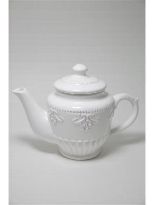 Чайник заварочный из грубой керамики Mitya Veselkov. Цвет: белый