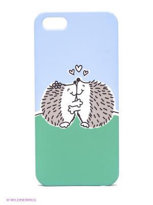 Чехол для IPhone 5 Влюбленные ежики Mitya Veselkov. Цвет: голубой, зеленый