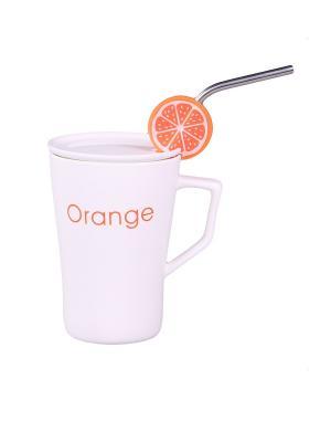 Кружка  с ложкой Апельсин PATRICIA. Цвет: белый, оранжевый