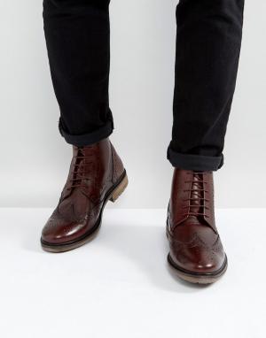 Silver Street Бордовые кожаные броги. Цвет: красный