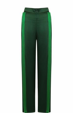 Брюки с контрастными лампасами и карманами Valentino. Цвет: зеленый
