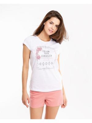 Пижама: футболка; шорты Mark Formelle. Цвет: розовый, белый