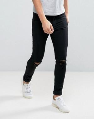 Dr Denim Черные джинсы с дырками на коленях Leroy. Цвет: черный