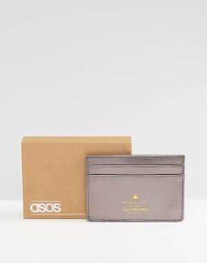 ASOS Кожаная кредитница металлик с тисненым логотипом. Цвет: серебряный