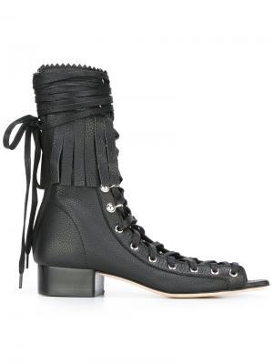 Босоножки на шнуровке Philosophy Di Lorenzo Serafini. Цвет: чёрный