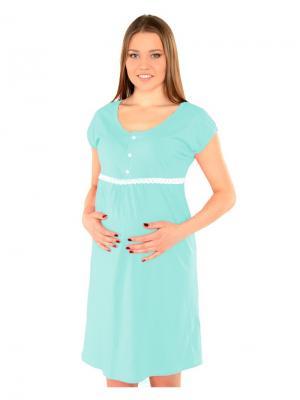 Платье-сорочка бирюза с кружевом Ням-Ням. Цвет: бирюзовый, молочный