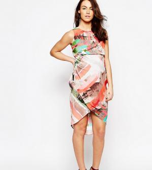 ASOS Maternity Платье миди для беременных с абстрактным принтом в полоску Matern. Цвет: мульти